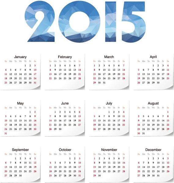 2015 year calendar vector illustration Free vector in Encapsulated