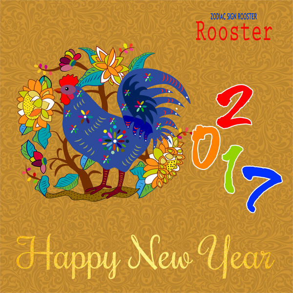 2017 lunar new year banner design with rooster Free vector in Adobe
