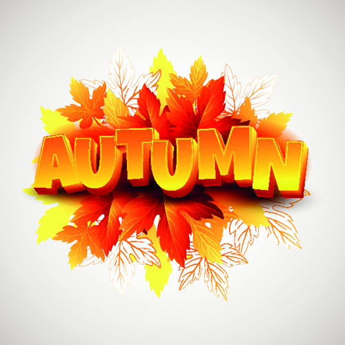 Free Computer Wallpaper Fall Leaves 3d Text And Autumn Leaves Background Vector Free Vector In