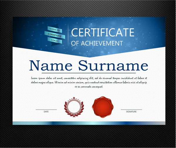 Achievement certificate design with modern style Free vector in