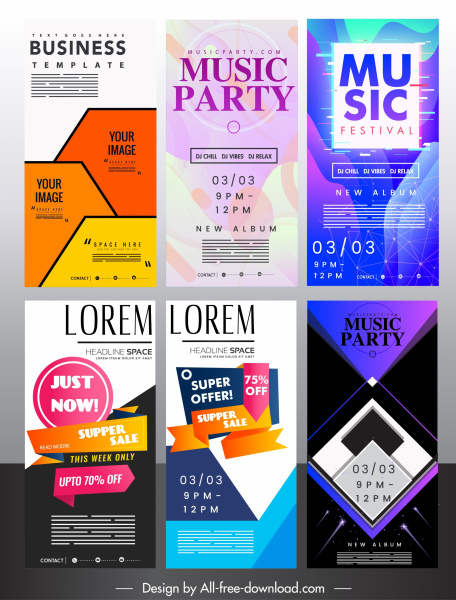 Advertising poster templates colorful modern vertical standee design