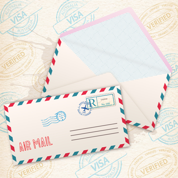 Air mail envelope background Free vector in Adobe Illustrator ai - mail background