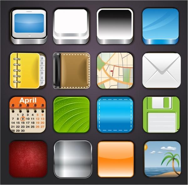 App Icons Templates Free vector in Adobe Illustrator ai ( AI - app templates free