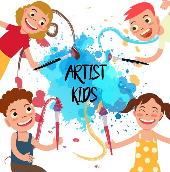 Artist kids background joyful children grunge colored decor Free