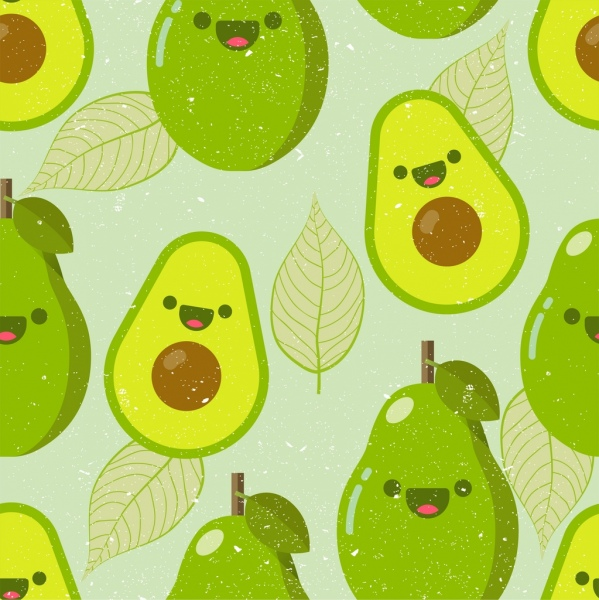 Fashion Cartoon Girl Wallpaper Avocado Fruit Background Flat Green Design Stylized Icons
