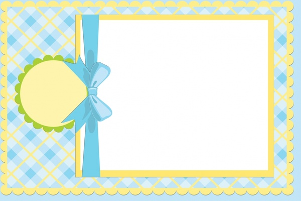 Baby shower card template checkered ribbon paper cut Free vector in