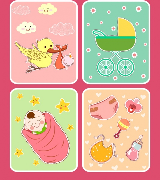 Baby shower background sets colorful cute design elements Free