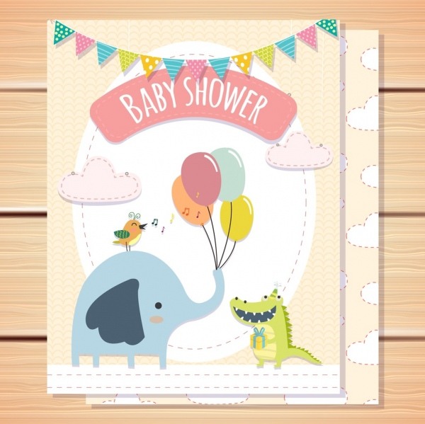 Baby shower card template elephant crocodile bird icons Free vector
