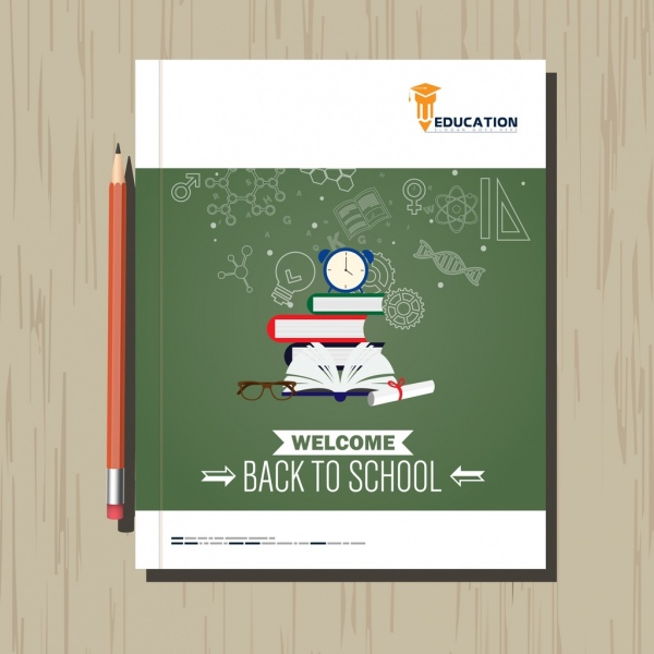 Back to school leaflet template education symbols icons Free vector