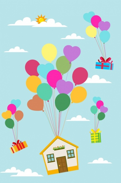 Vintage Map Iphone Wallpaper Balloons Background Floating House Presents Decoration