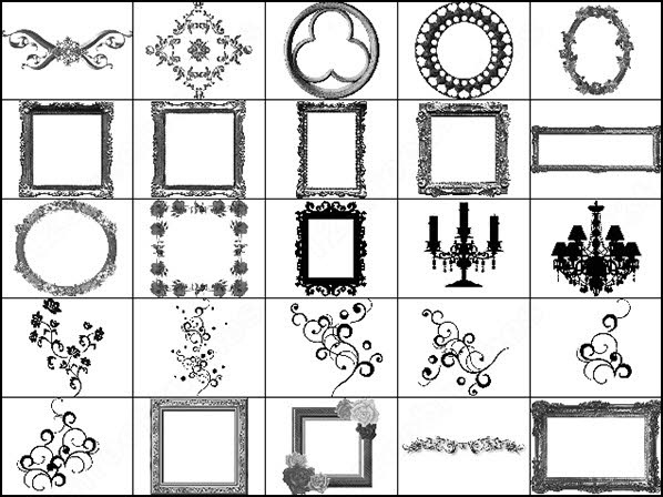 Baroque frames photoshop brushes download (34 photoshop brushes) for