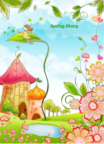 Beautiful cartoon spring scenery vector graphics Free vector in