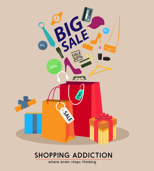 Big sale poster design with bags and goods Free vector in Adobe - sale poster design