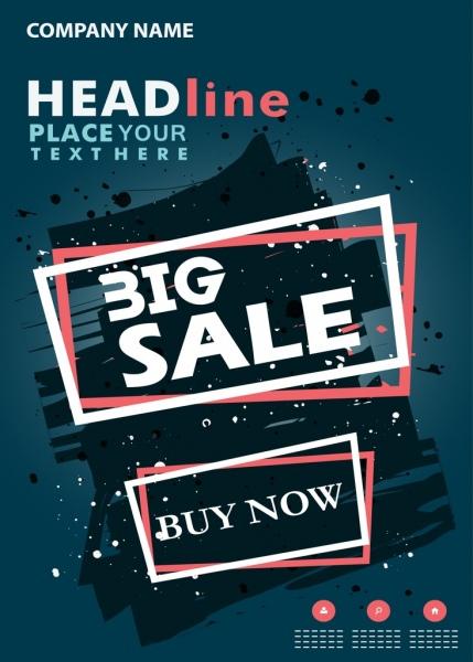 Big sale poster grunge retro style geometric decoration Free vector - sale poster design
