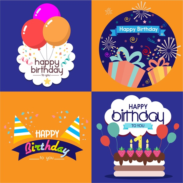 Birthday card templates isolated with various styles Free vector in - template for a birthday card