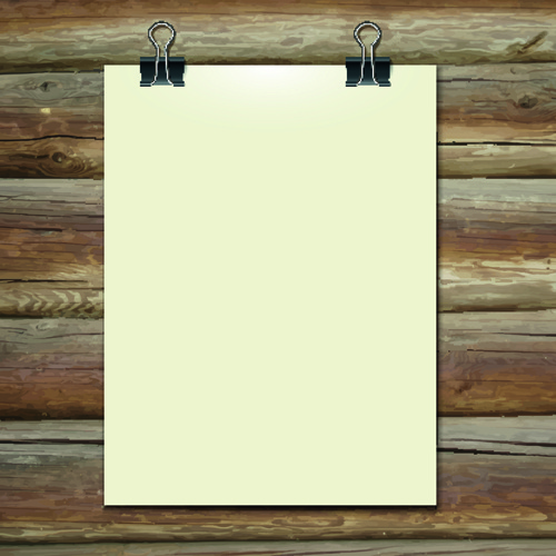 Blank paper and paper clip background vector Free vector in