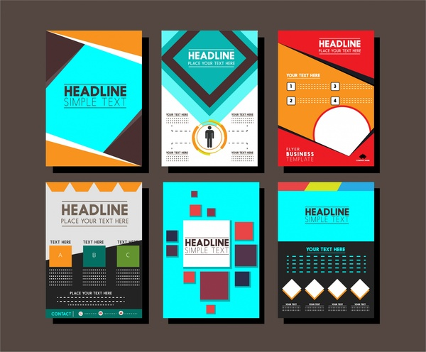 Brochure design templates collection layout Free vector in Adobe - template