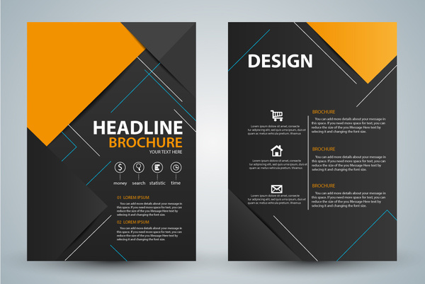 Brochure design with modern black background Free vector in Adobe