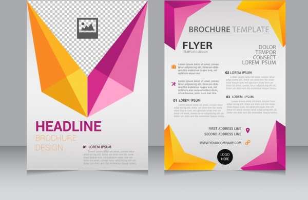 Brochure flyer template colorful 3d geometry decoration Free vector