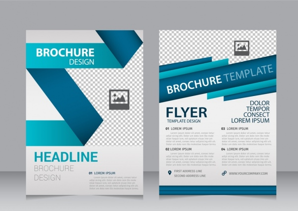 Brochure template 3d folding style checkered pattern ornament Free