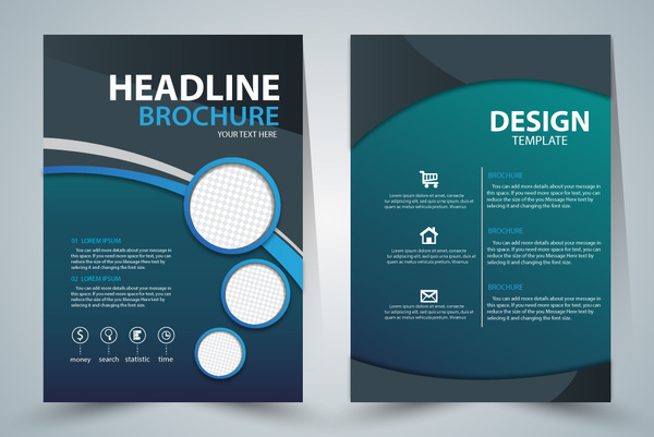 Brochure template design with green elegant style Free vector in