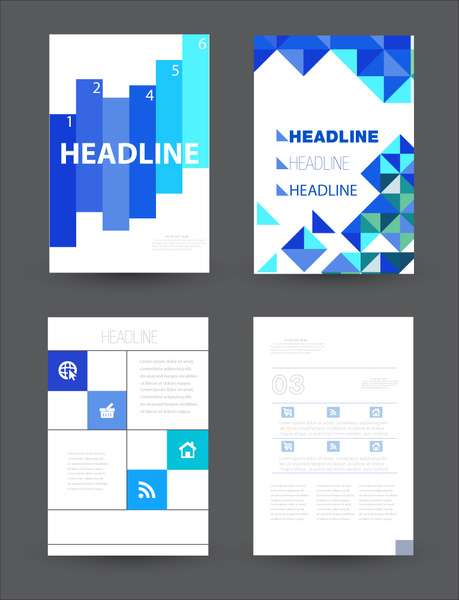 Brochure vector design with bright background layout Free vector in