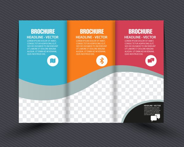 Business brochure design with checkered trifold style Free vector in