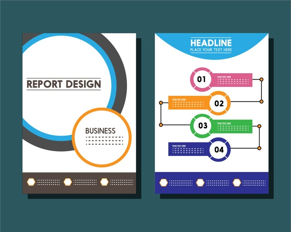 Business report templates circles and infographic styles Free vector