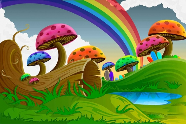 Cute Happy Girl Wallpapers Cartoon Colorful Mushrooms Vector Background Free Vector