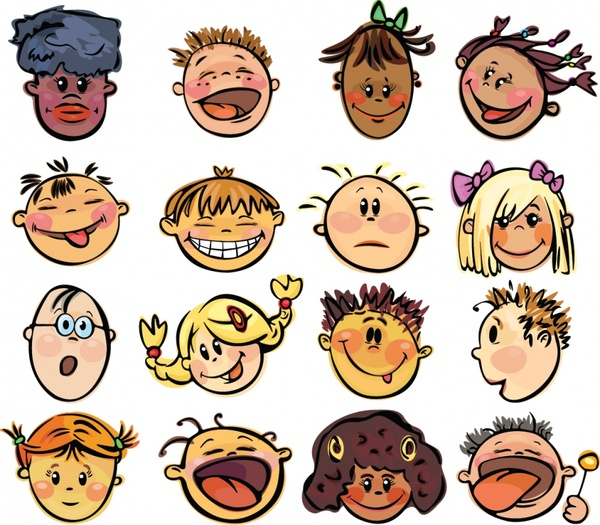 Cartoon faces vector Free vector in Encapsulated PostScript eps