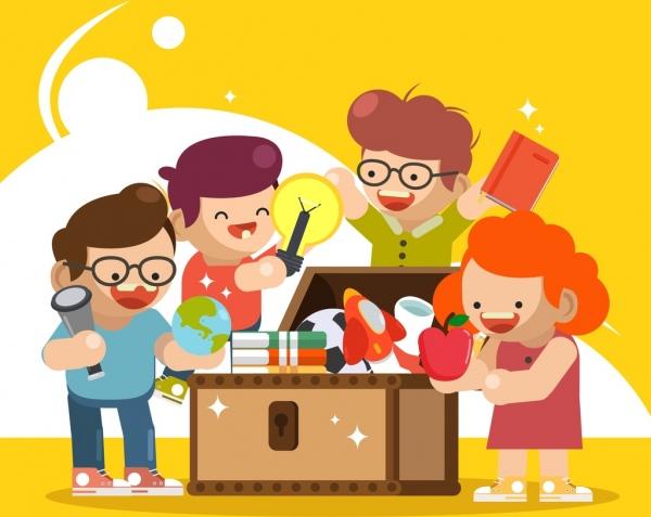 Childhood background kids education tools icons cartoon design Free