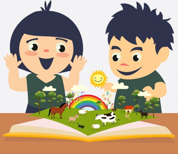 Childhood education background kids open book colored cartoon Free