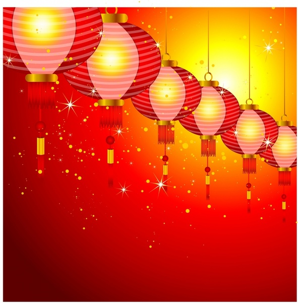 Chinese New Year background design with lanterns Free vector in