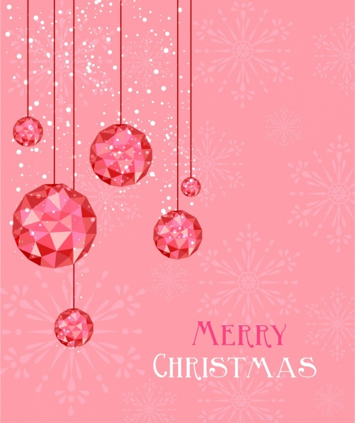 Christmas background hanging gem decor pink design Free vector in