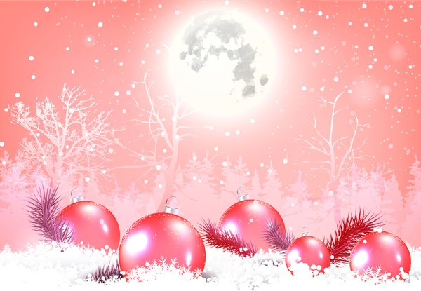 Christmas background with shiny moon and baubles Free vector in - christmas background image