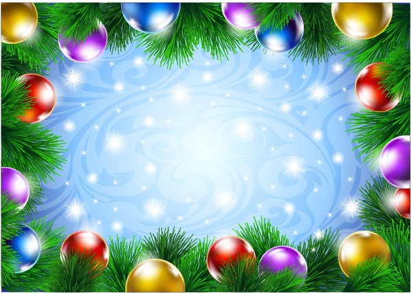 Christmas decorative border of pine branches vector Free vector in