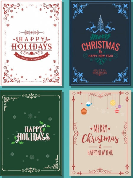 Christmas poster templates classical decorative corner decor Free