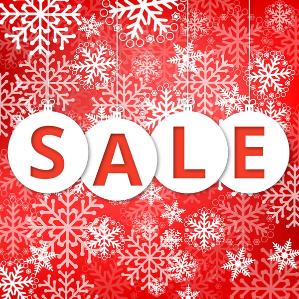 Christmas sale poster with snowflakes and red background Free vector