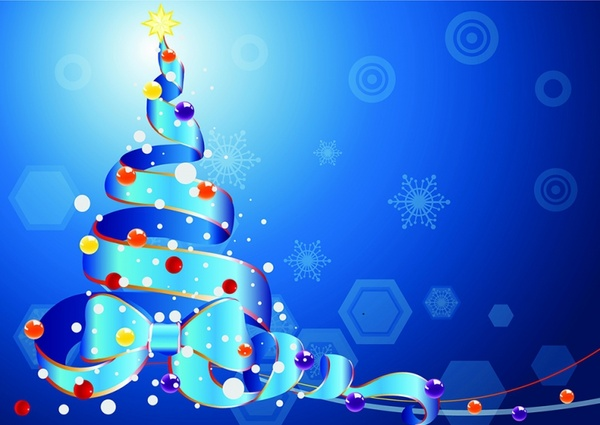 Christmas tree by a Ribbon on blue background Free vector in Adobe