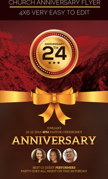 Church anniversary flyer Free psd in Photoshop psd ( psd ) format
