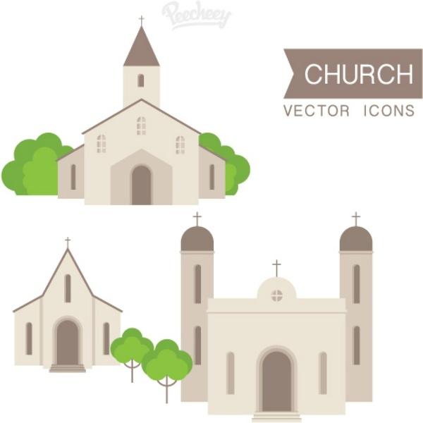Church set illustration Free vector in Adobe Illustrator ai ( ai
