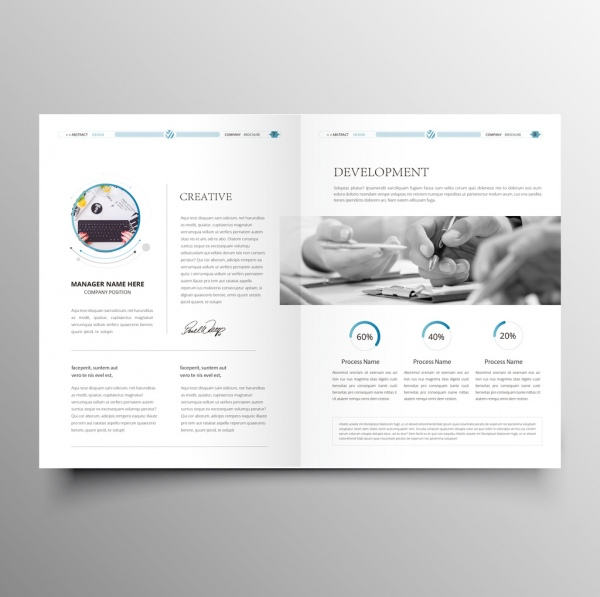 Clean modern company brochure template Free vector in Adobe - Company Brochure Templates