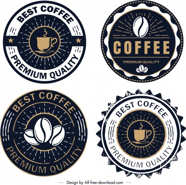 Coffee logo templates retro circle dark design Free vector in Adobe