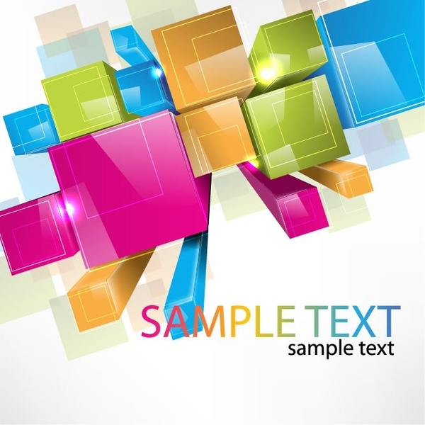 Colorful 3D Cubes Vector Background Free vector in Encapsulated