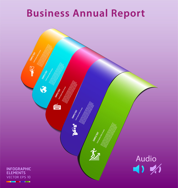 Colorful infographic vector of business annual report Free vector in