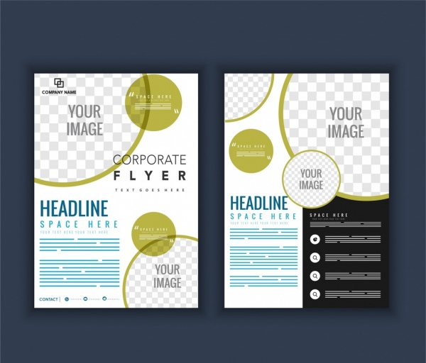 Company brochure template circles checkered decoration Free vector - Company Brochure Templates