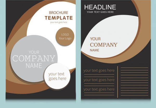 Company flyer template modern circles curves decoration Free vector
