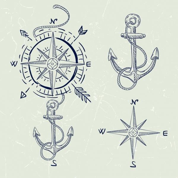Compass design elements handdrawn classical sketch various symbols