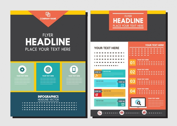 Corporate flyer design with colorful infographic style Free vector - design a flyer free