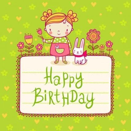 Cute kid birthday card templates vector Free vector in - birthday card template